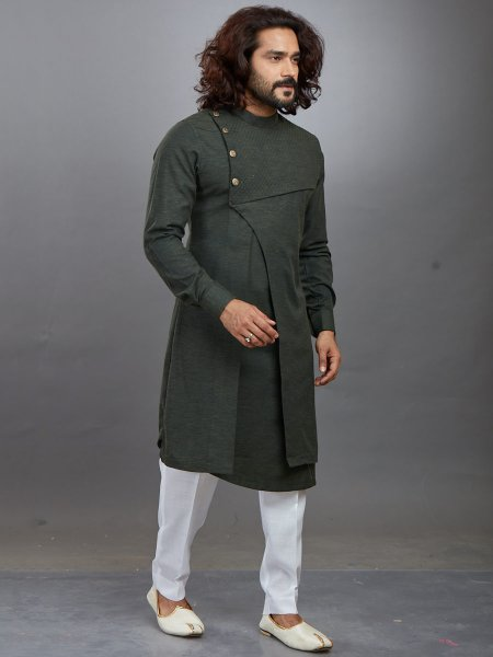 Army Green Cotton Plain Festival Kurta