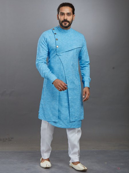 Sky Blue Cotton Plain Festival Kurta