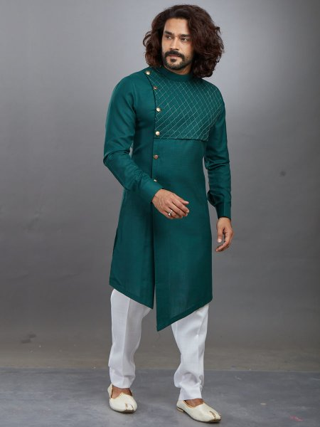 Pine Green Cotton Plain Festival Kurta