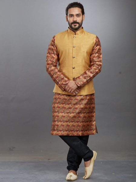 Metallic Gold Yellow Jacquard Printed Festival Kurta with Waistcoat