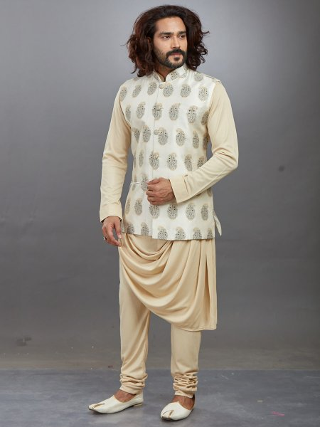 Golden Yellow Lycra Printed Festival Kurta with Waistcoat