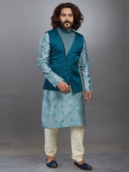 Light Cerulean Blue Jacquard Printed Festival Kurta with Waistcoat