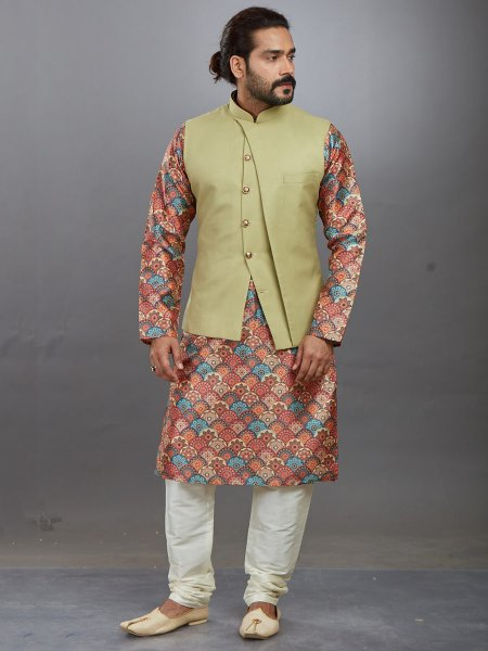 Coral Pink and Sky Blue Jacquard Printed Festival Kurta with Waistcoat