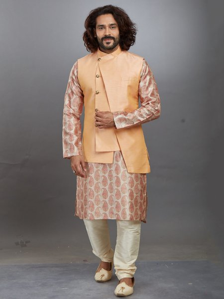 Cream Yellow and Salmon Orange Jacquard Printed Festival Kurta with Waistcoat