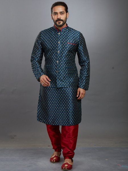 Teal Blue Art Silk Printed Festival Kurta with Waistcoat