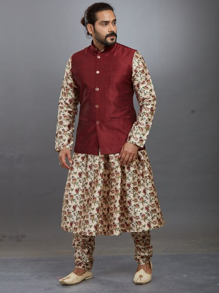 Cream Yellow and Maroon Jacquard Printed Festival Kurta with Waistcoat