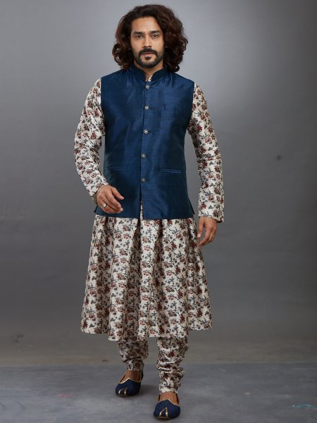 Off-White and Yale Blue Jacquard Printed Festival Kurta with Waistcoat