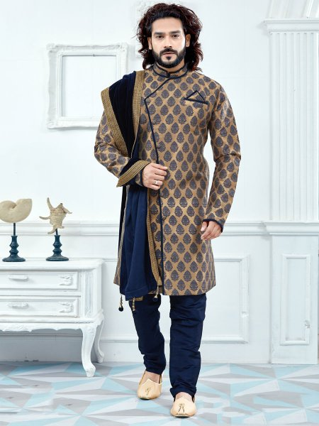 Metallic gold Yellow Jacquard Festival Embroidery Sherwani