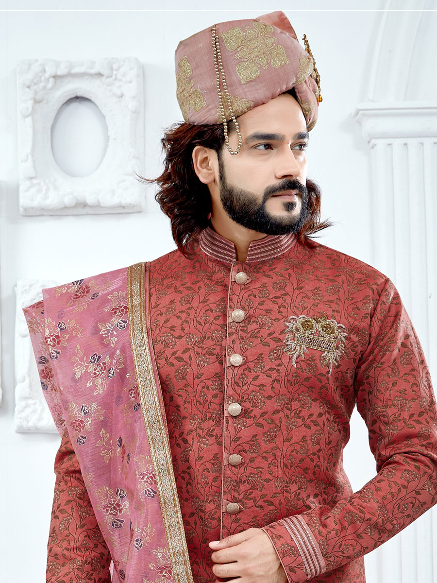 Rose madder Red Jacquard Festival Embroidery Sherwani