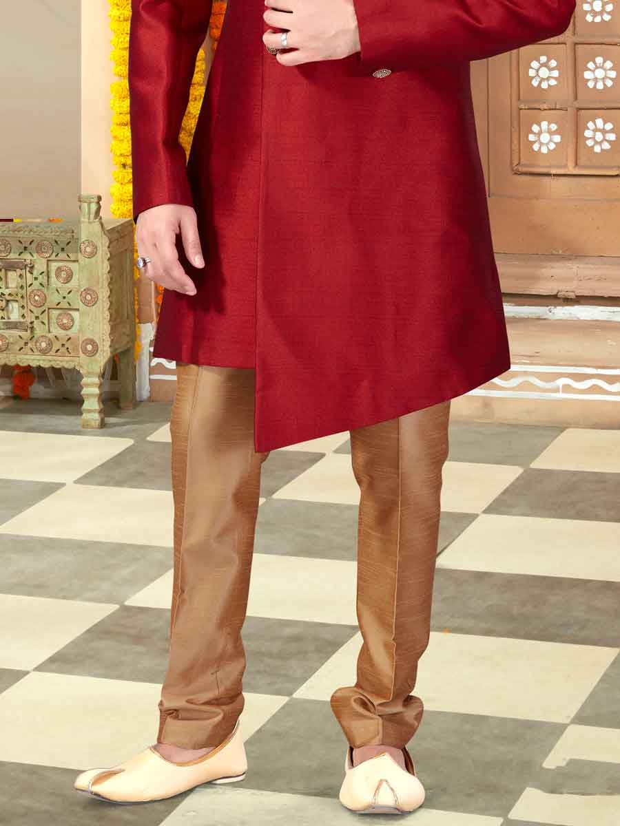 Maroon Silk Embroidered Wedding Sherwani
