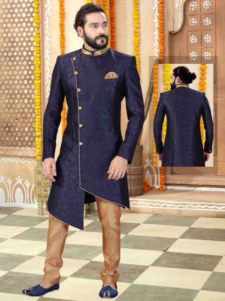 Navy Blue Jacquard Plain Wedding Sherwani