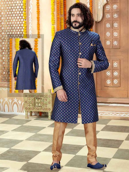 Navy Blue Art Silk Handwoven Wedding Sherwani