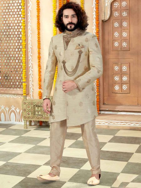 Cream Yellow Banarasi Silk Embroidered Wedding Sherwani