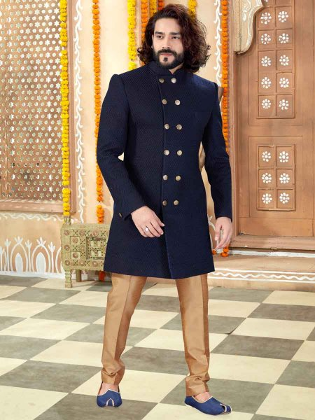 Navy Blue Banglori Silk Plain Wedding Sherwani