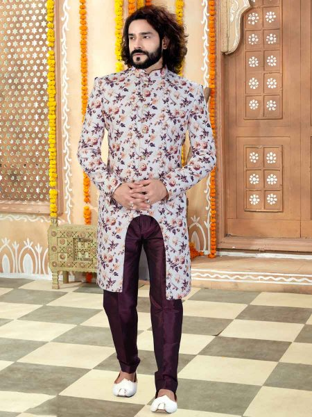 Off-White and Wine Red Silk Printed Wedding Sherwani