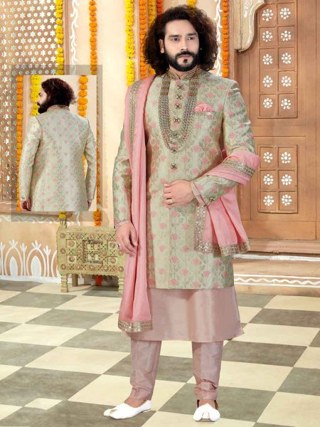Tea Green Banarasi Silk Handwoven Wedding Sherwani