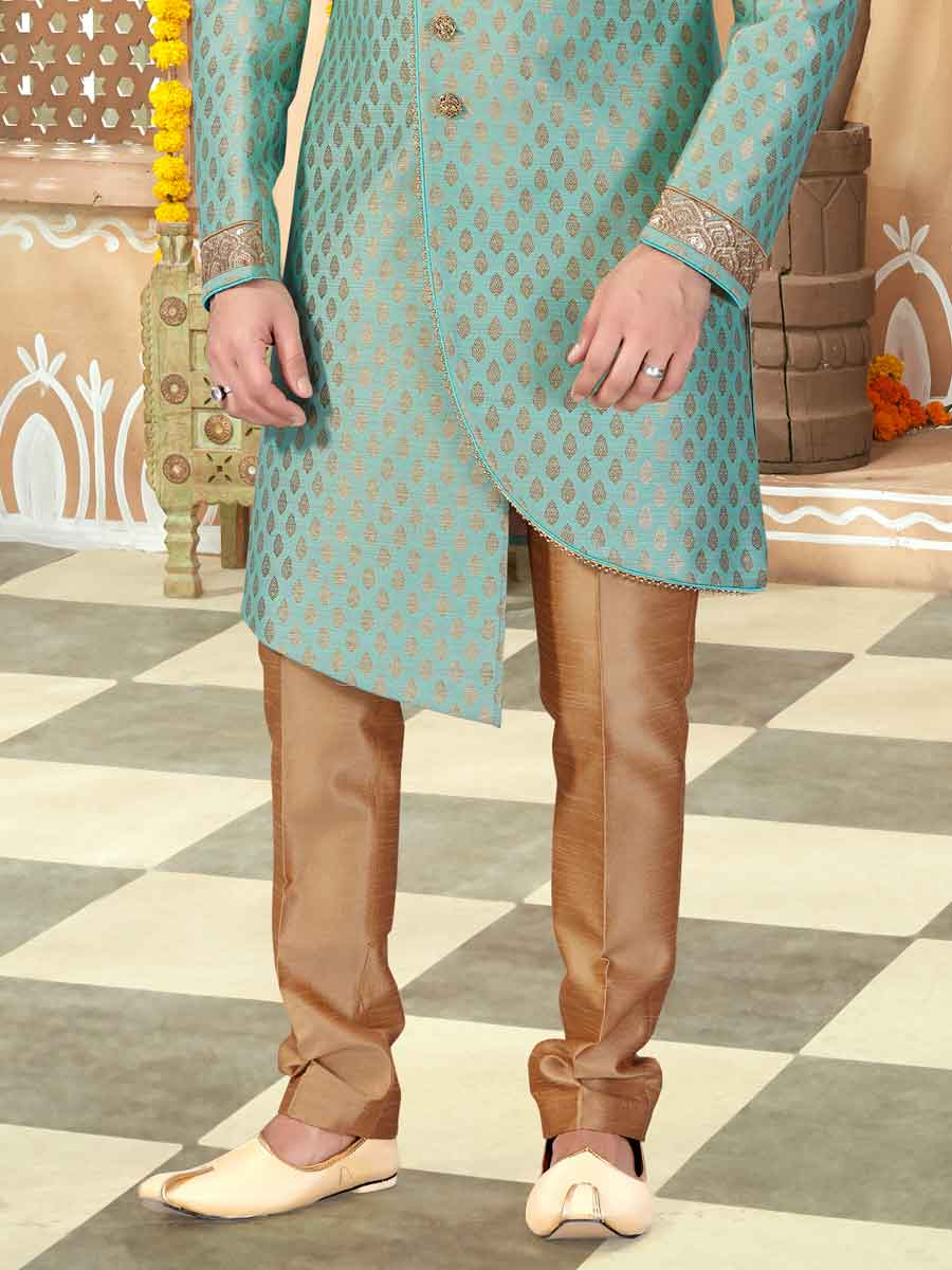 Light Jungle Green Jacquard Handwoven Wedding Sherwani