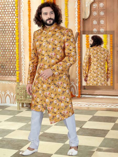 Gamboge Yellow Silk Printed Wedding Sherwani