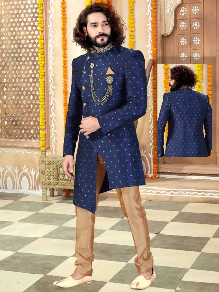 Navy Blue Chanderi Embroidered Wedding Sherwani