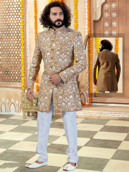 Tan Brown Art Silk Embroidered Wedding Sherwani