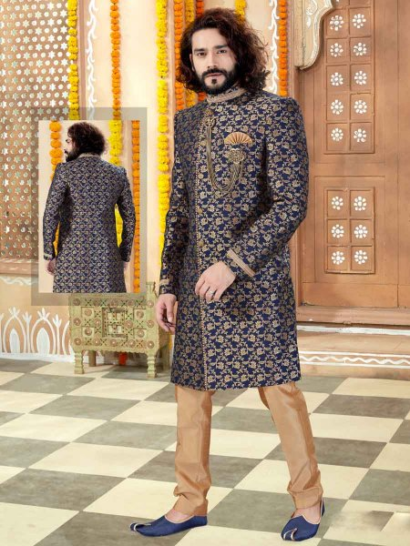 Navy Blue Jacquard Handwoven Wedding Sherwani