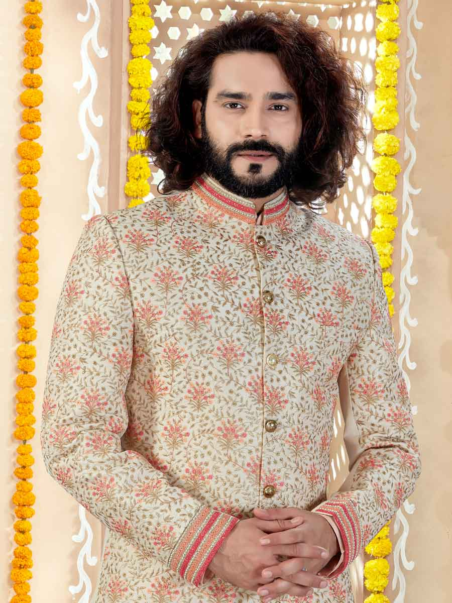 Cream Yellow Art Silk Embroidered Wedding Sherwani