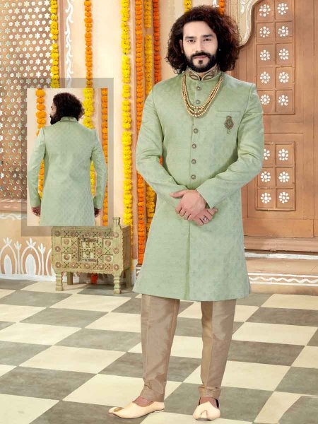Moss Green Jacquard Plain Wedding Sherwani