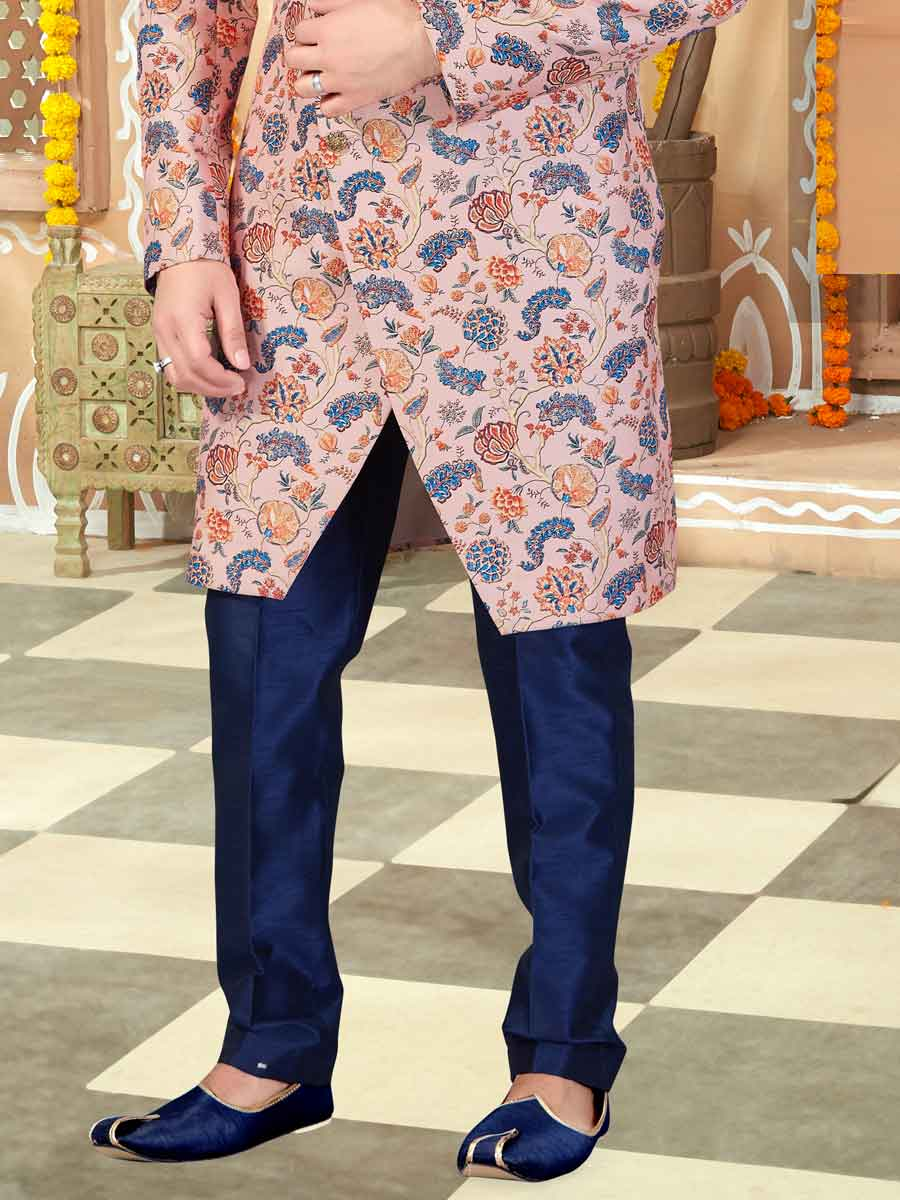 Light Pink Silk Printed Wedding Sherwani