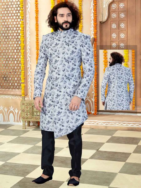 Off-White and Gray Silk Printed Wedding Sherwani