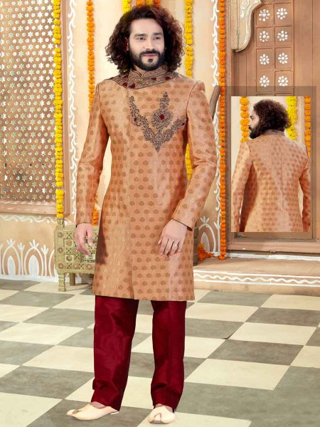 Salmon Orange Jacquard Embroidered Wedding Sherwani