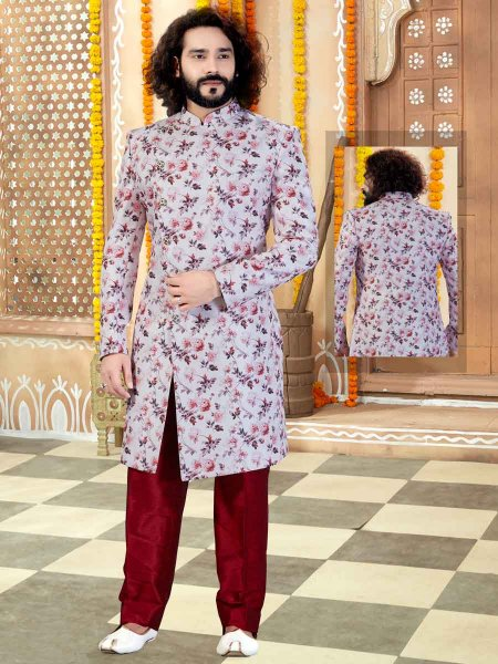 Off-White Silk Printed Wedding Sherwani