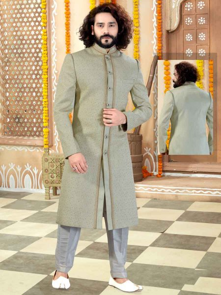Tea Green Silk Plain Wedding Sherwani