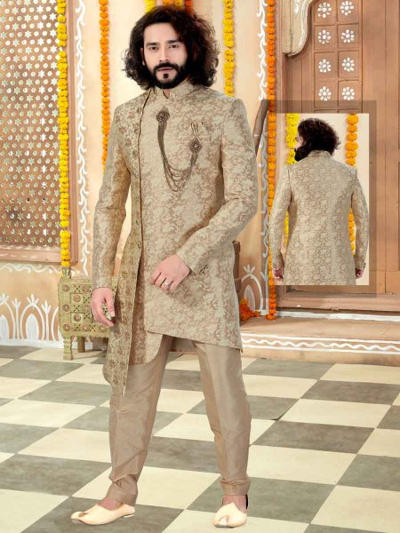 Golden Yellow Banarasi Jacquard Handwoven Wedding Sherwani