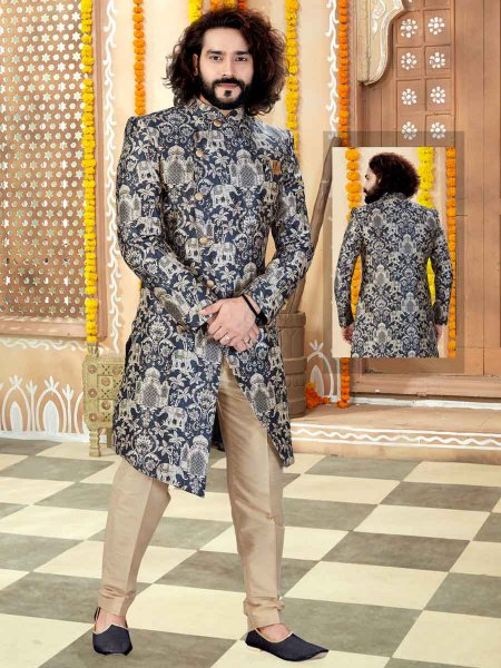 Black Silk Printed Wedding Sherwani