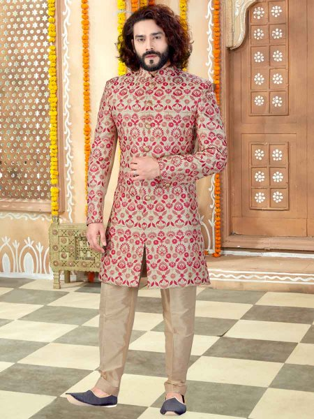Golden Yellow Art Silk Embroidered Wedding Sherwani