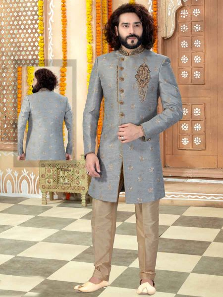 Grey Banarasi Jacquard Embroidered Wedding Sherwani