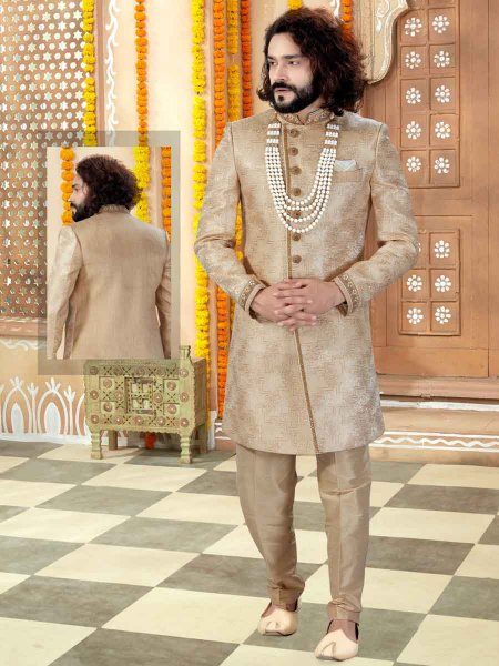 Golden Yellow Banarasi Jacquard Printed Wedding Sherwani