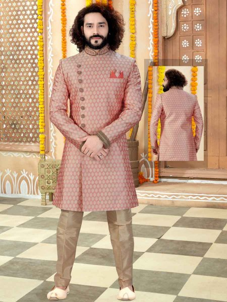 Light Pink Banarasi Jacquard Printed Wedding Sherwani