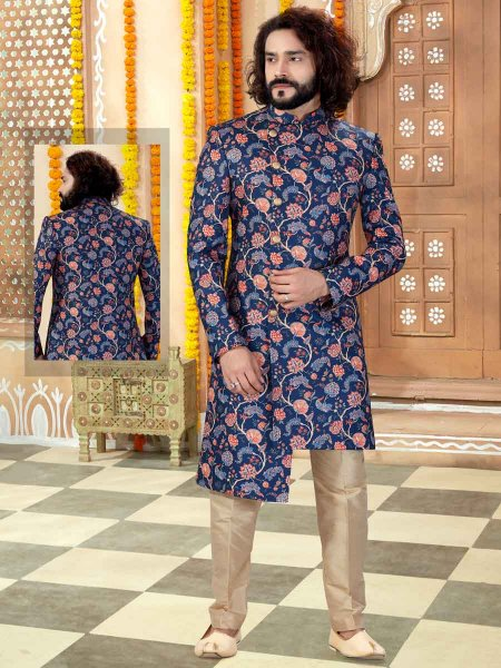 Navy Blue Silk Plain Wedding Sherwani