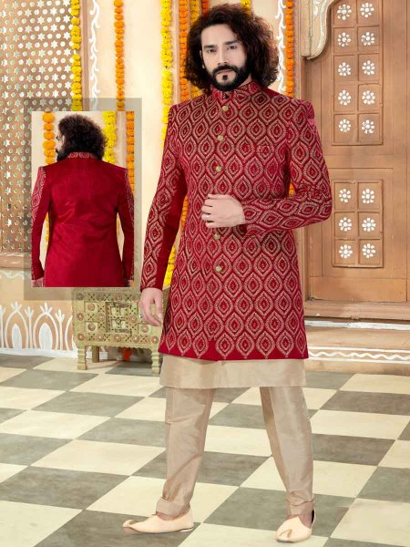 Venetian Red Banarasi Silk Embroidered Wedding Sherwani