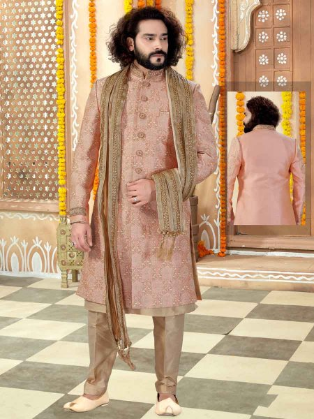 Light Pink Art Silk Embroidered Wedding Sherwani