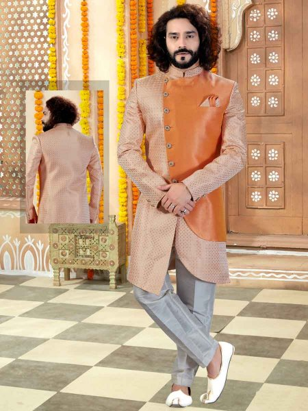 Peach-Orange and Coral Orange Jacquard and Silk Printed Wedding Sherwani