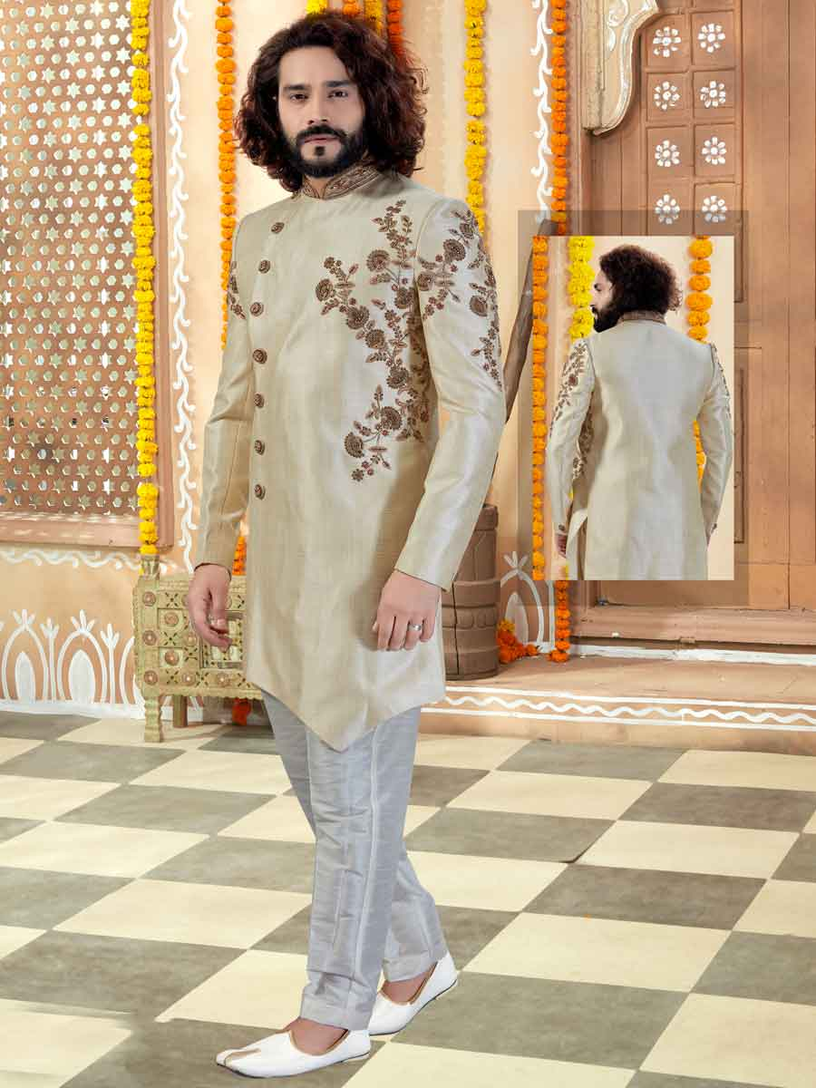 Light Golden Yellow Silk Embroidered Wedding Sherwani