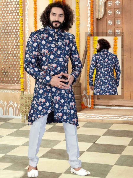 Navy Blue Silk Printed Wedding Sherwani