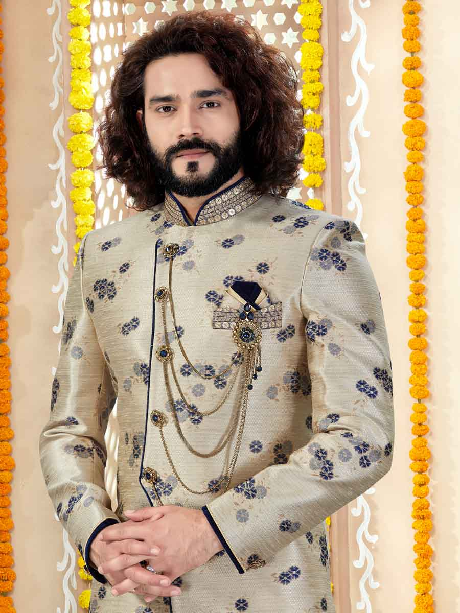 Golden Yellow Jacquard Printed Wedding Sherwani
