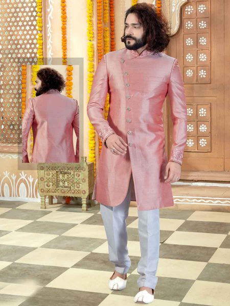 Light Pink Art Silk Printed Wedding Sherwani