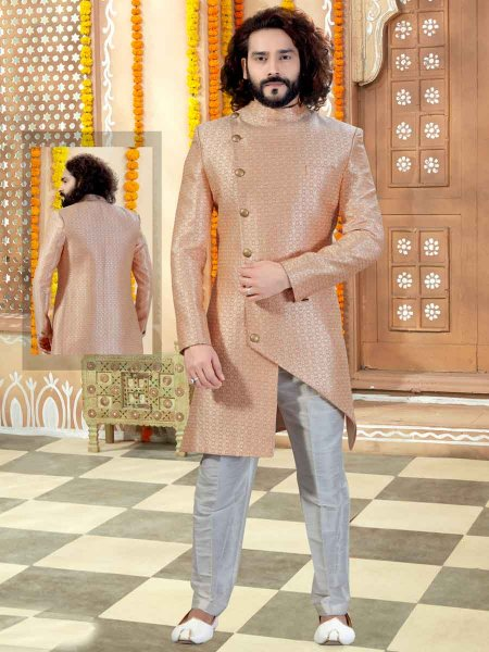 Peach-Orange Jacquard Handwoven Wedding Sherwani