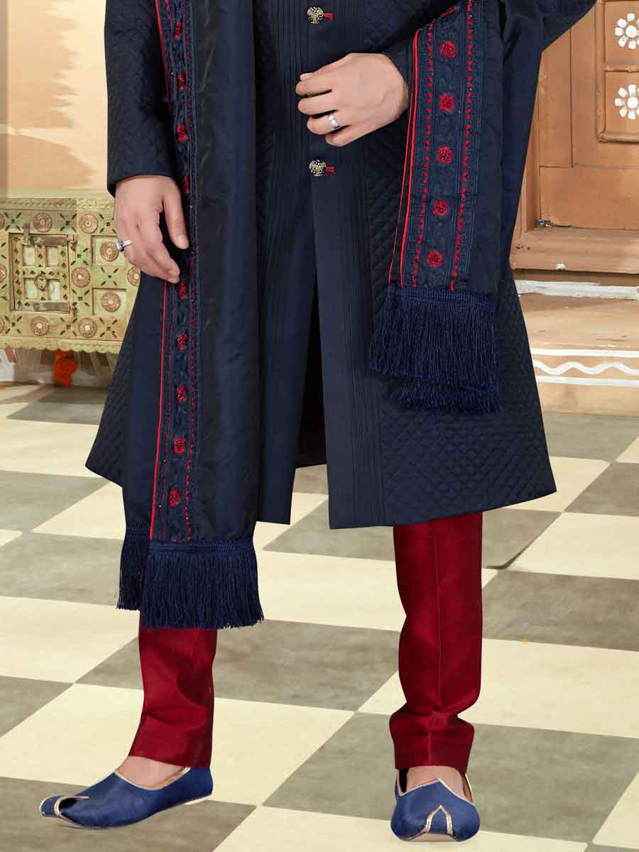 Navy Blue Banarasi Silk Plain Wedding Sherwani