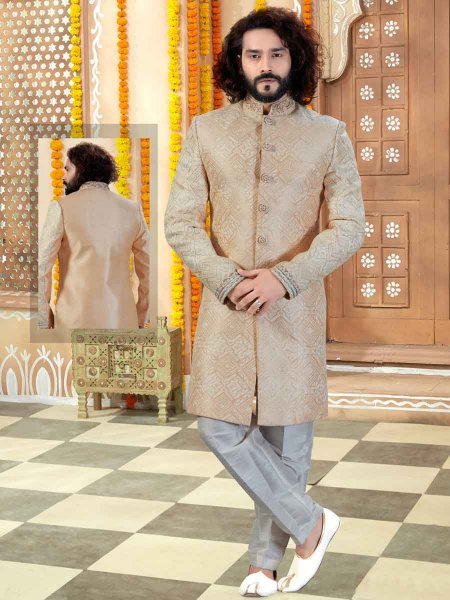 Peach-Orange Art Silk Embroidered Wedding Sherwani
