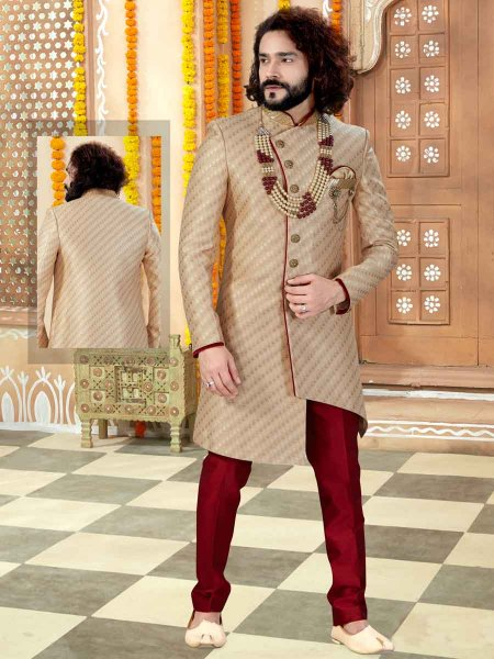 Golden Yellow Jacquard Plain Wedding Sherwani